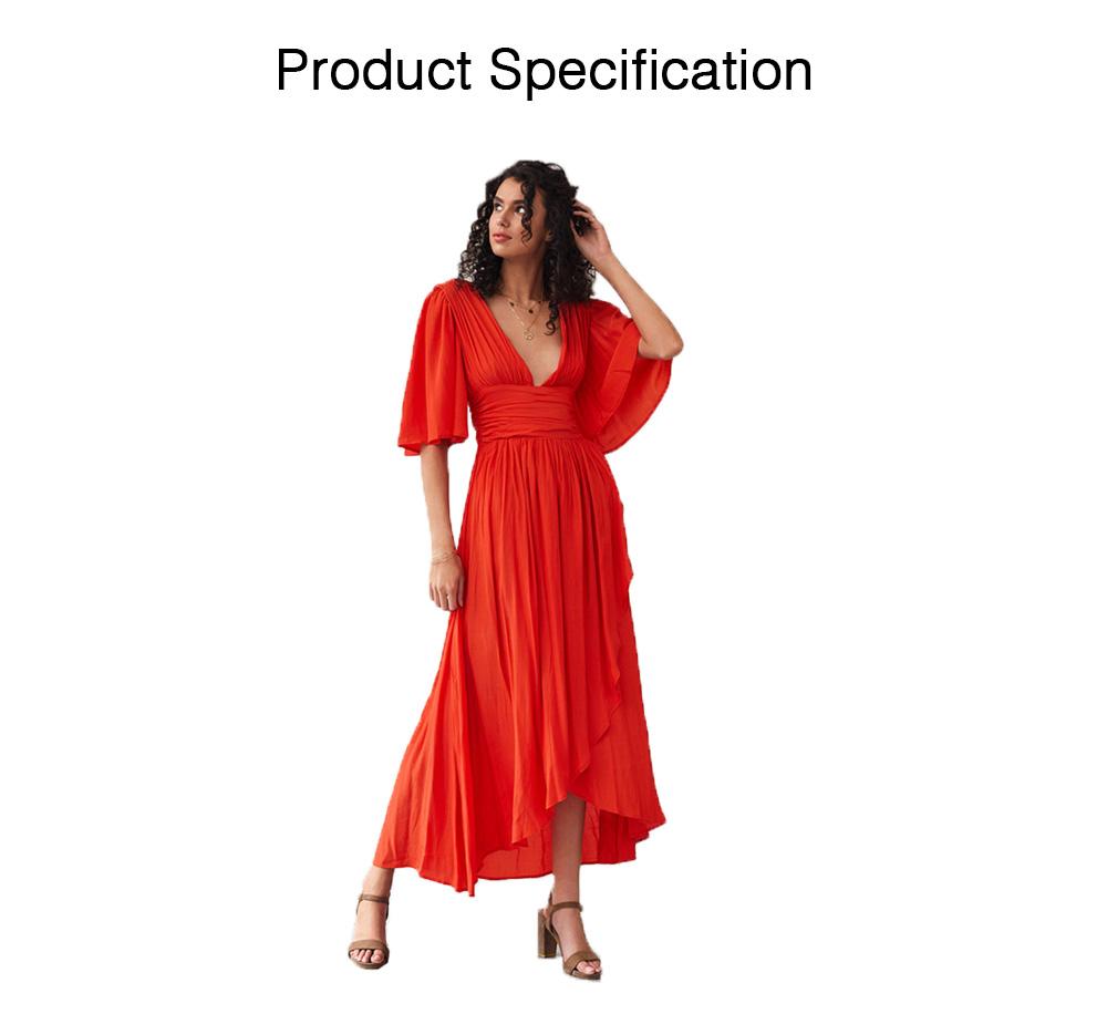 Deep V-neck Bohemian Dress Slim Waist Belt Irregular Style Orange Skirt Maxi Dress Summer for Women 6