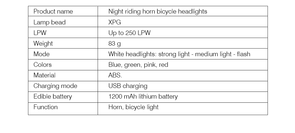 Rechargeable Loudspeaker Horn ABS Trumpet USB Bell Ringing Three-speed Light for Night Waterproof Switch Portable Headlight for Bicycle 9