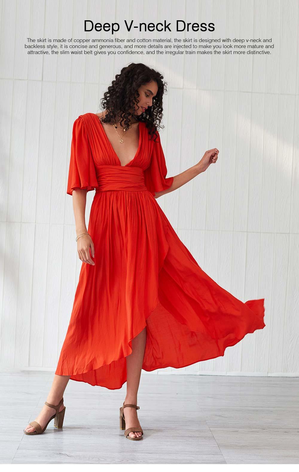 Deep V-neck Bohemian Dress Slim Waist Belt Irregular Style Orange Skirt Maxi Dress Summer for Women 0