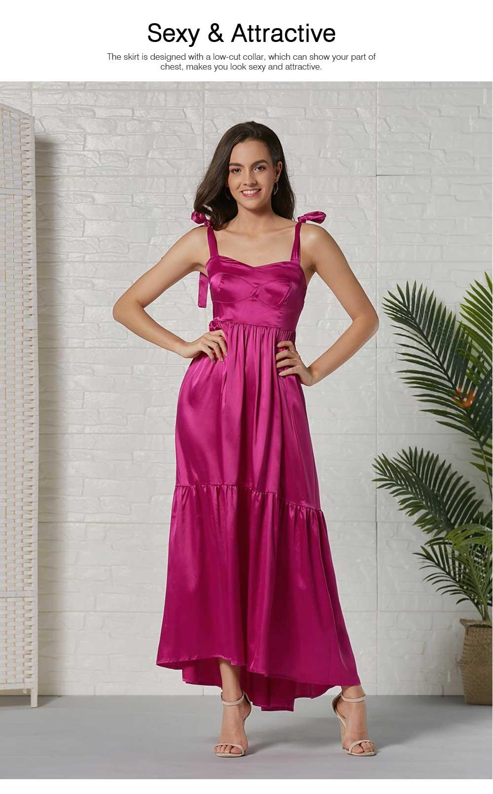 Lady Bohemian Dress Satin Flapper Hem Petticoat Binding Non-sleeve Long Purple Skirt Spring Summer for Women 2