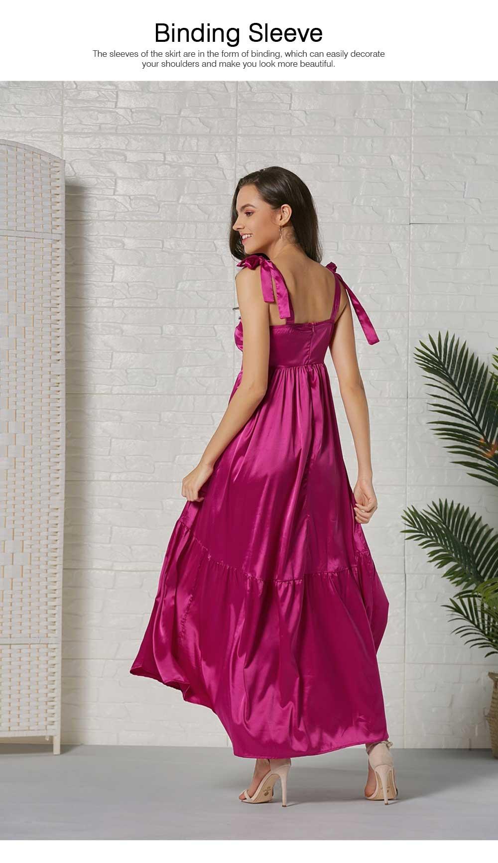 Lady Bohemian Dress Satin Flapper Hem Petticoat Binding Non-sleeve Long Purple Skirt Spring Summer for Women 3