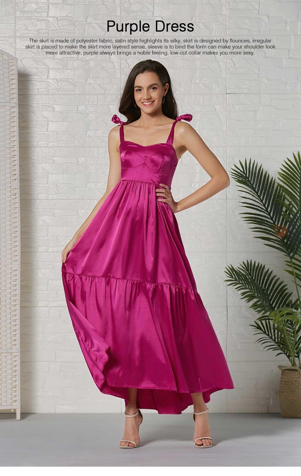 Lady Bohemian Dress Satin Flapper Hem Petticoat Binding Non-sleeve Long Purple Skirt Spring Summer for Women 0