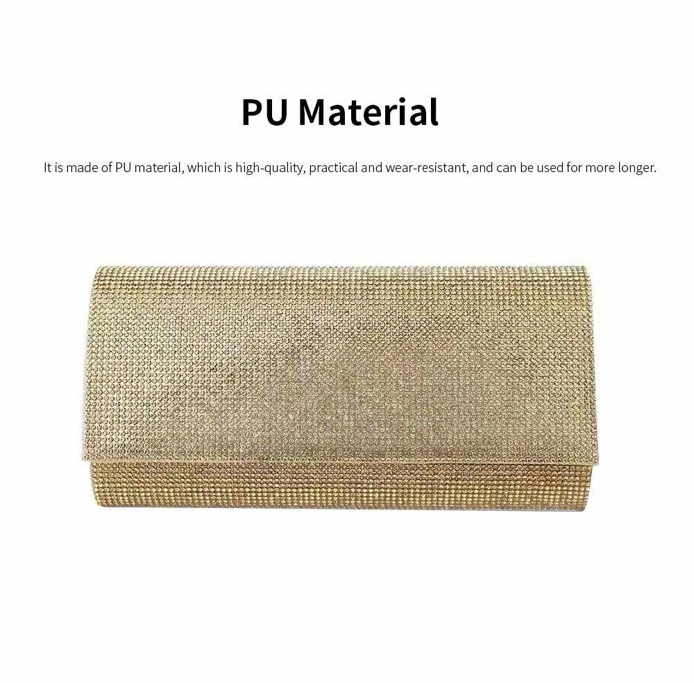 Clutch PU Diamond-studded Material Shiny Surface Long Style Handbag for Dinner Party Women Fashionable Evening Bag 1