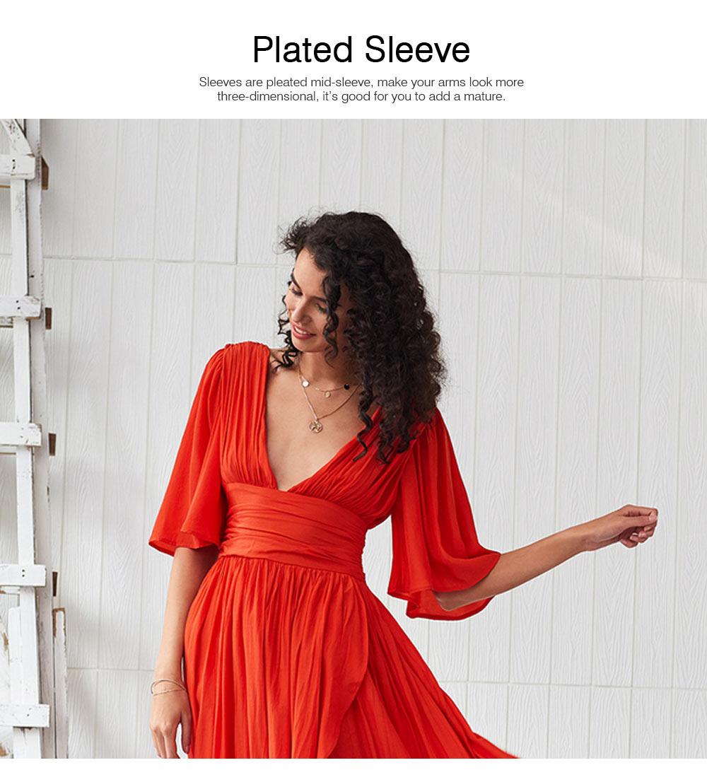 Deep V-neck Bohemian Dress Slim Waist Belt Irregular Style Orange Skirt Maxi Dress Summer for Women 3