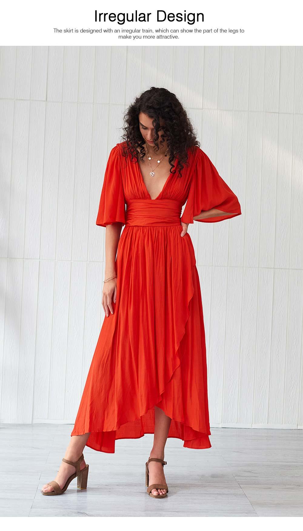 Deep V-neck Bohemian Dress Slim Waist Belt Irregular Style Orange Skirt Maxi Dress Summer for Women 1
