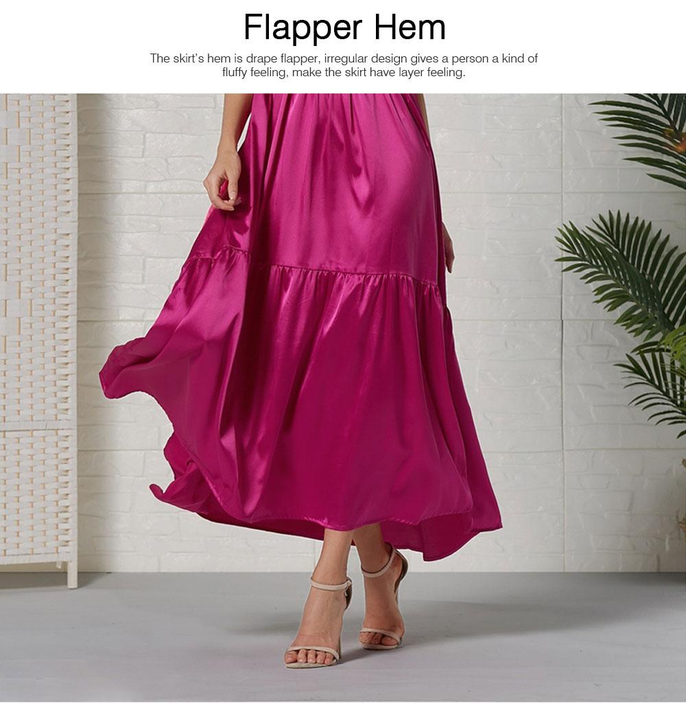Lady Bohemian Dress Satin Flapper Hem Petticoat Binding Non-sleeve Long Purple Skirt Spring Summer for Women 5
