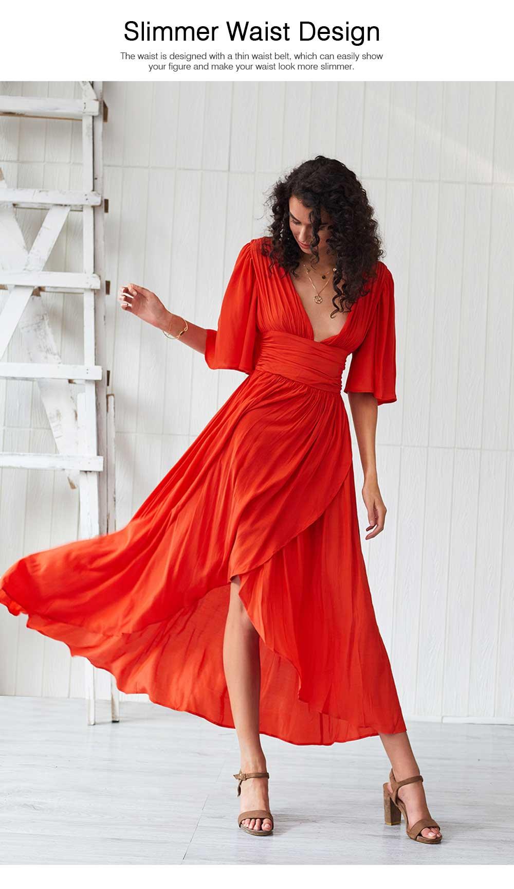 Deep V-neck Bohemian Dress Slim Waist Belt Irregular Style Orange Skirt Maxi Dress Summer for Women 4