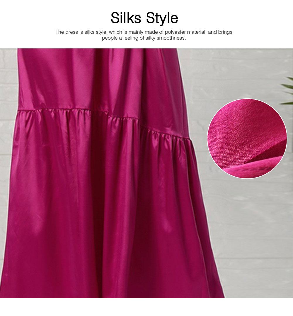 Lady Bohemian Dress Satin Flapper Hem Petticoat Binding Non-sleeve Long Purple Skirt Spring Summer for Women 4