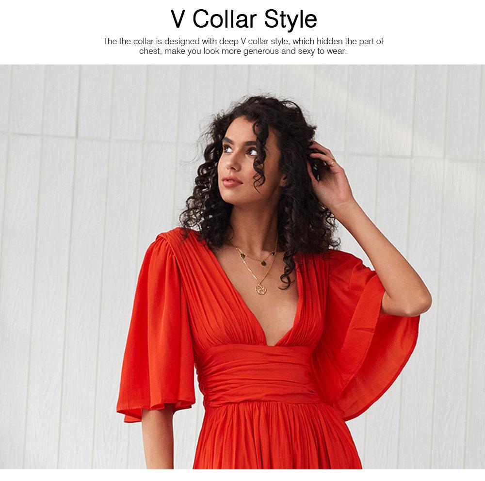 Deep V-neck Bohemian Dress Slim Waist Belt Irregular Style Orange Skirt Maxi Dress Summer for Women 2