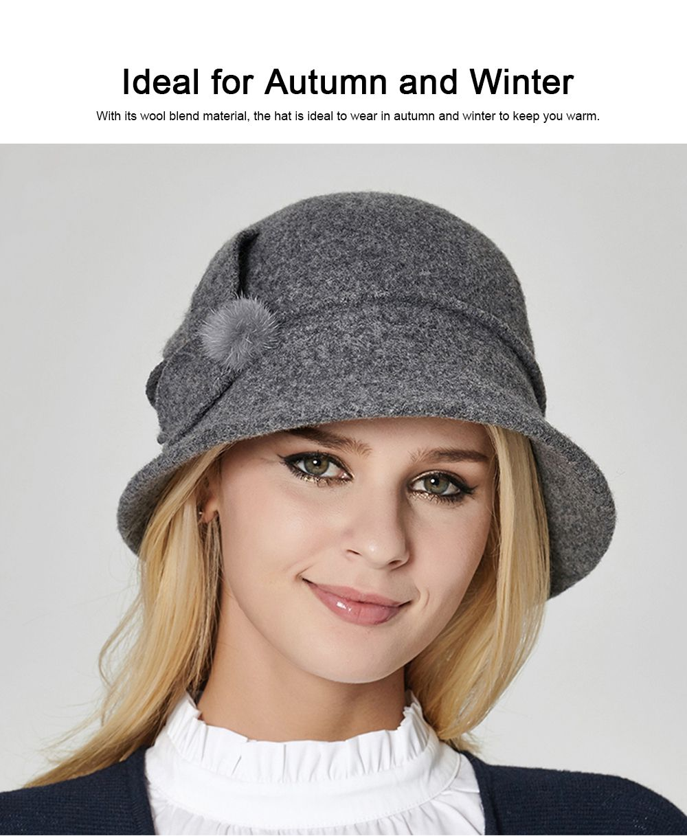 Woollen Bucket Hat for Women, Thickened Hat for Autumn & Winter Fashionable Warm Fisherman Hat 1