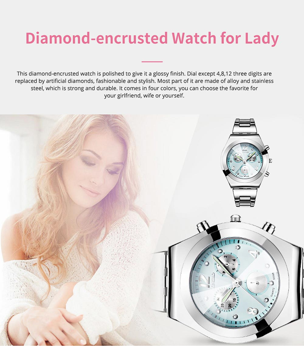 Diamond-encrusted Watch for Lady Luminous Hands Watch for Traveling Business Waterproof 0