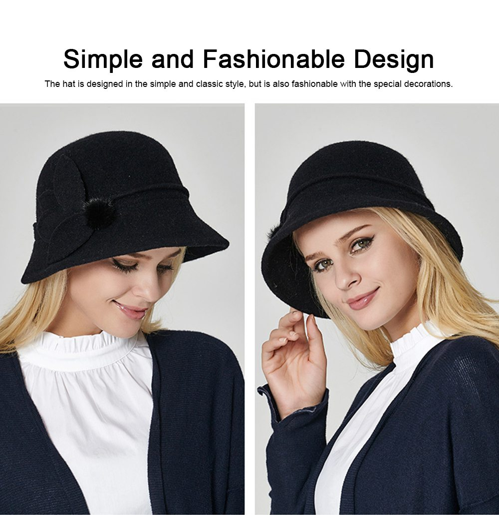 Woollen Bucket Hat for Women, Thickened Hat for Autumn & Winter Fashionable Warm Fisherman Hat 2