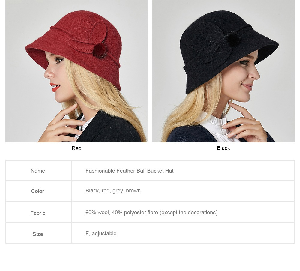 Woollen Bucket Hat for Women, Thickened Hat for Autumn & Winter Fashionable Warm Fisherman Hat 7