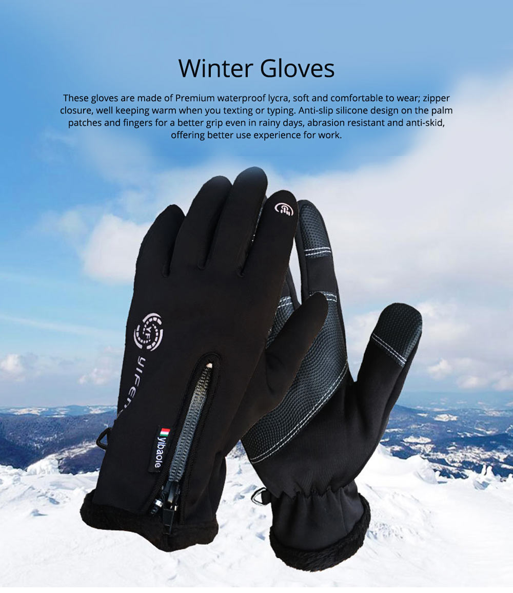 Winter Gloves Warm Waterproof Anti-wind Touch Screen Gloves for Running Hiking Climbing Skiing for Men Women 0
