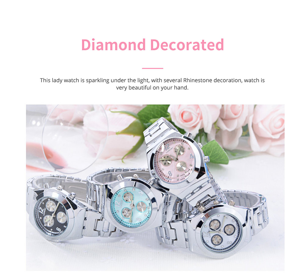 Diamond-encrusted Watch for Lady Luminous Hands Watch for Traveling Business Waterproof 1