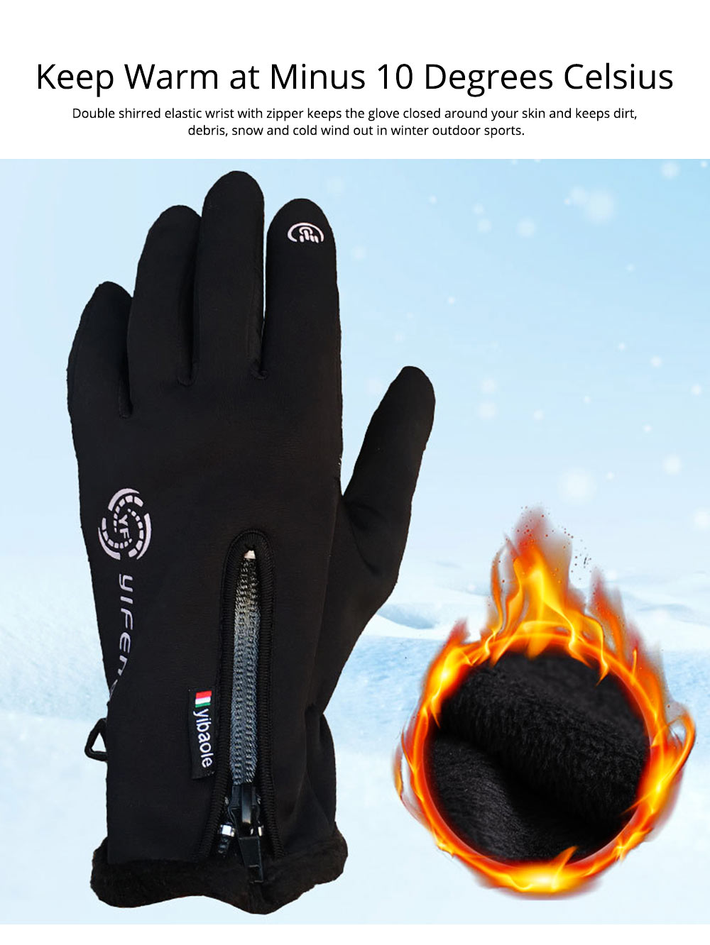 Winter Gloves Warm Waterproof Anti-wind Touch Screen Gloves for Running Hiking Climbing Skiing for Men Women 2
