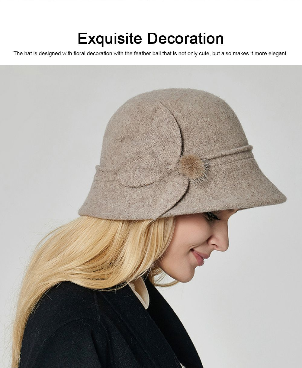 Woollen Bucket Hat for Women, Thickened Hat for Autumn & Winter Fashionable Warm Fisherman Hat 3