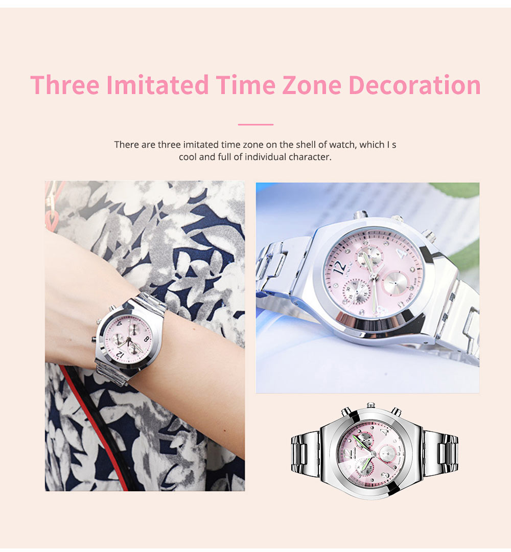Diamond-encrusted Watch for Lady Luminous Hands Watch for Traveling Business Waterproof 5