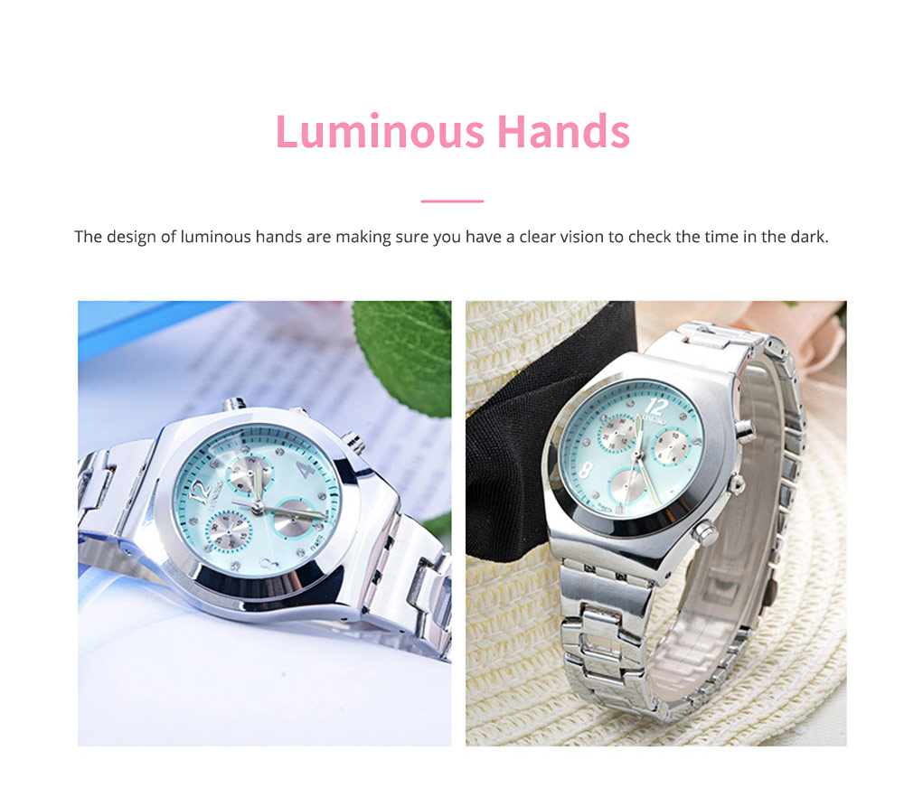 Diamond-encrusted Watch for Lady Luminous Hands Watch for Traveling Business Waterproof 4