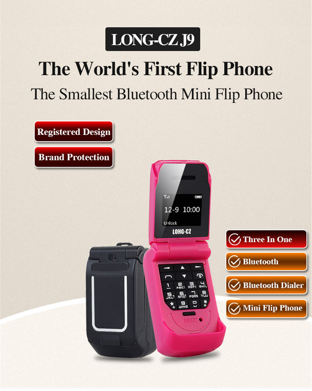 Tinkleo J9 Mini Bluetooth Flip Phone with 0.66 Inch Screen HD Screen FM MP3 Clock Magic Voice  0