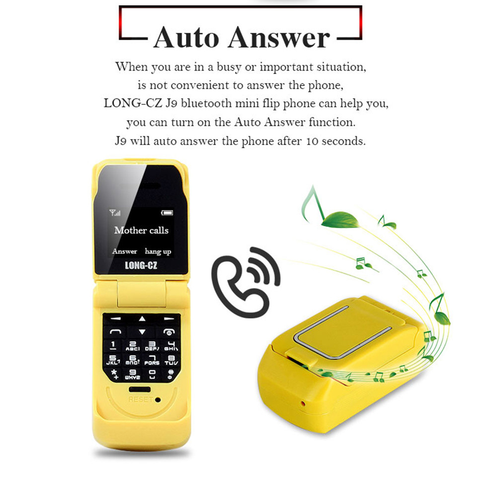 Tinkleo J9 Mini Bluetooth Flip Phone with 0.66 Inch Screen HD Screen FM MP3 Clock Magic Voice  21