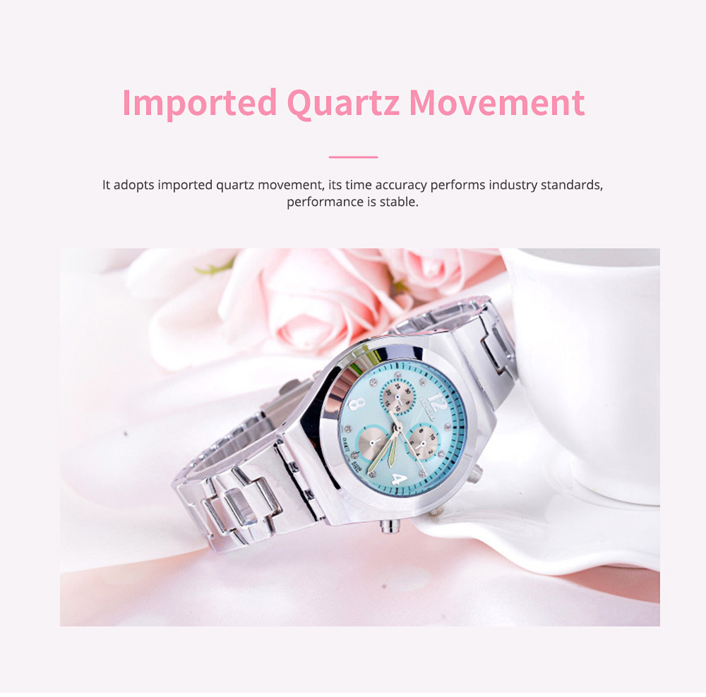Diamond-encrusted Watch for Lady Luminous Hands Watch for Traveling Business Waterproof 3