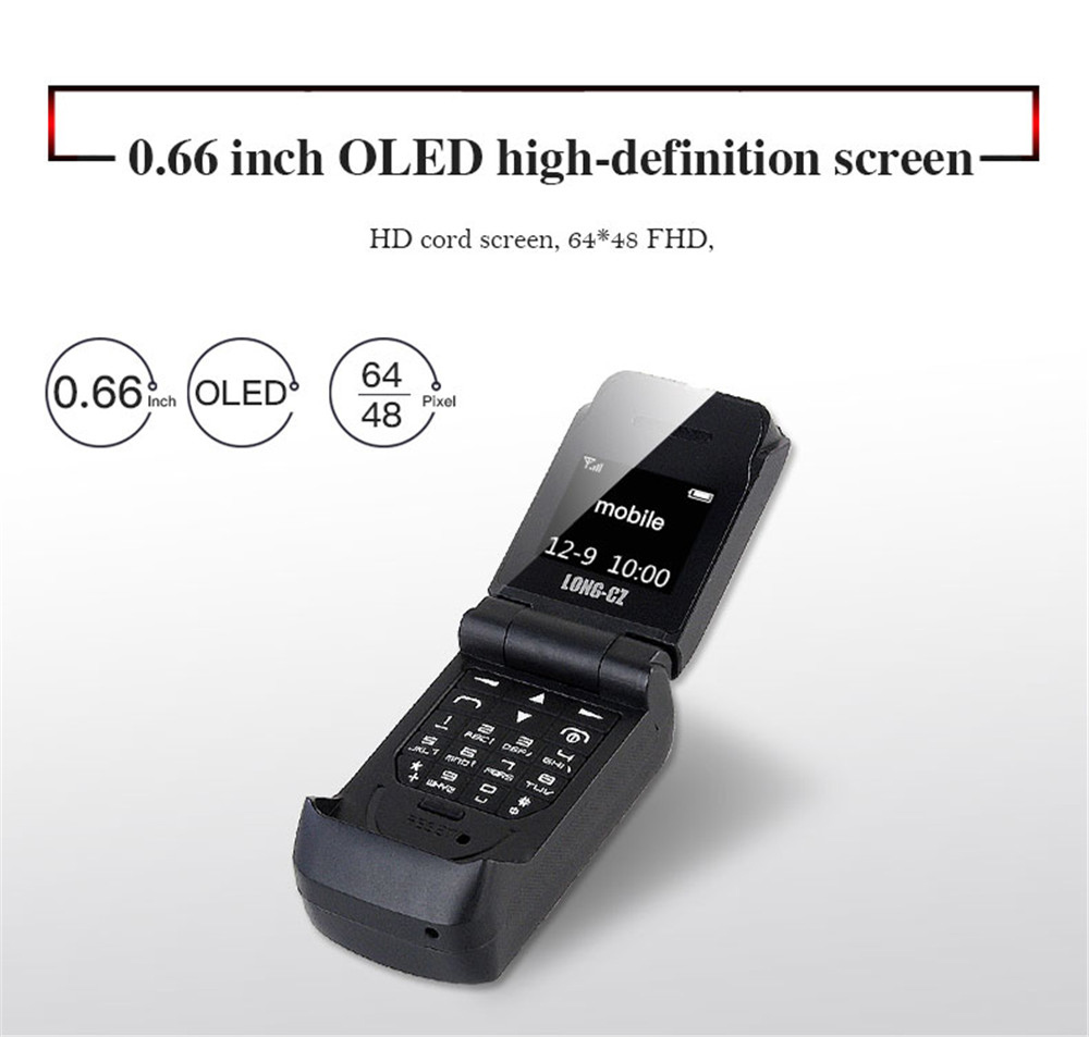 Tinkleo J9 Mini Bluetooth Flip Phone with 0.66 Inch Screen HD Screen FM MP3 Clock Magic Voice  8