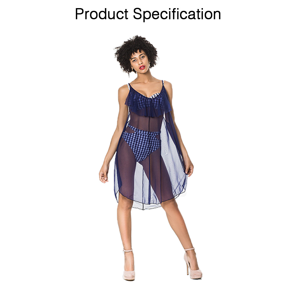 Beach Mesh Dress Perspective Design Adjustable Shoulder Strap Gauze Skirt for Women Beach Swimming Sun Protect Wear 6