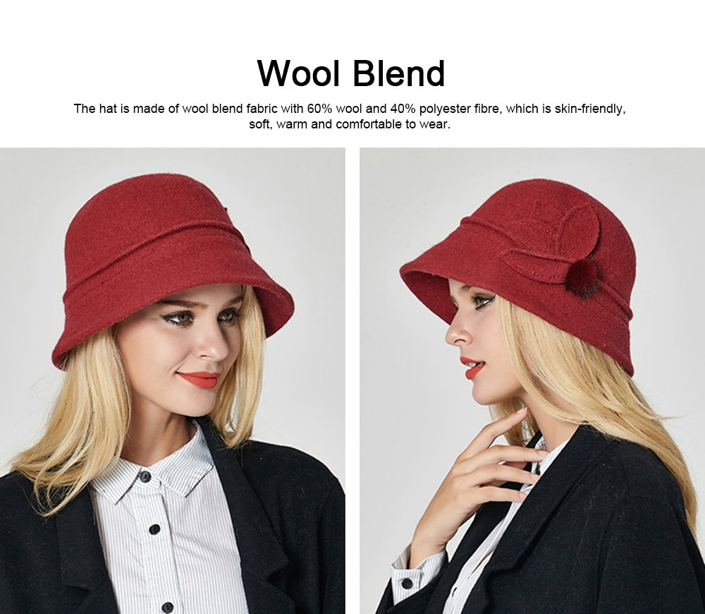 Woollen Bucket Hat for Women, Thickened Hat for Autumn & Winter Fashionable Warm Fisherman Hat 4