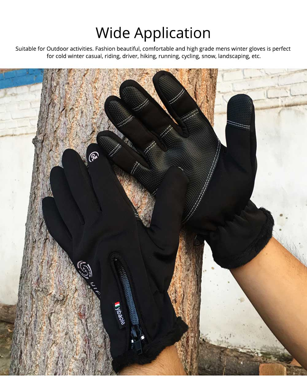 Winter Gloves Warm Waterproof Anti-wind Touch Screen Gloves for Running Hiking Climbing Skiing for Men Women 1