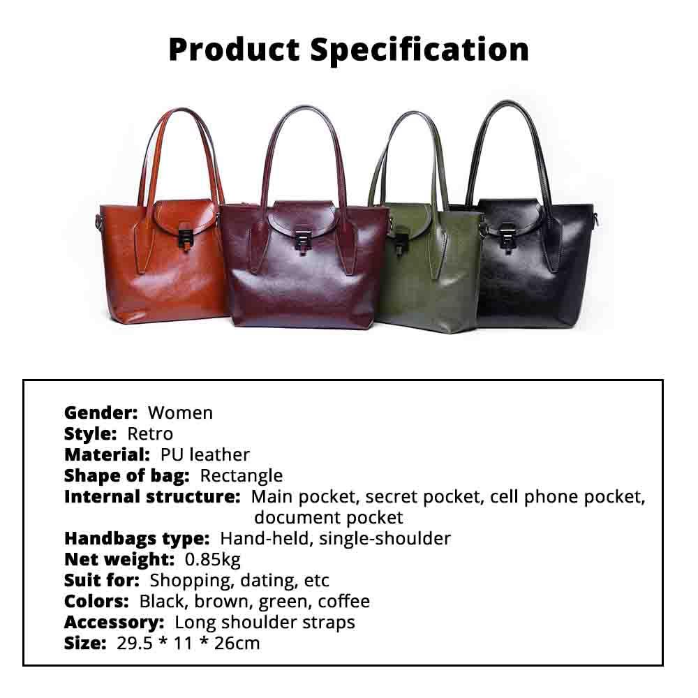 2019 Fashion Casual Women Large Bags Retro Hand-Held Bag Ladies Single Shoulder Classical Female Handbags 6