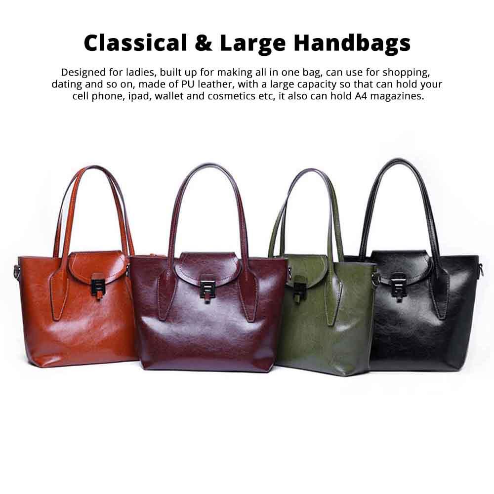 2019 Fashion Casual Women Large Bags Retro Hand-Held Bag Ladies Single Shoulder Classical Female Handbags 0