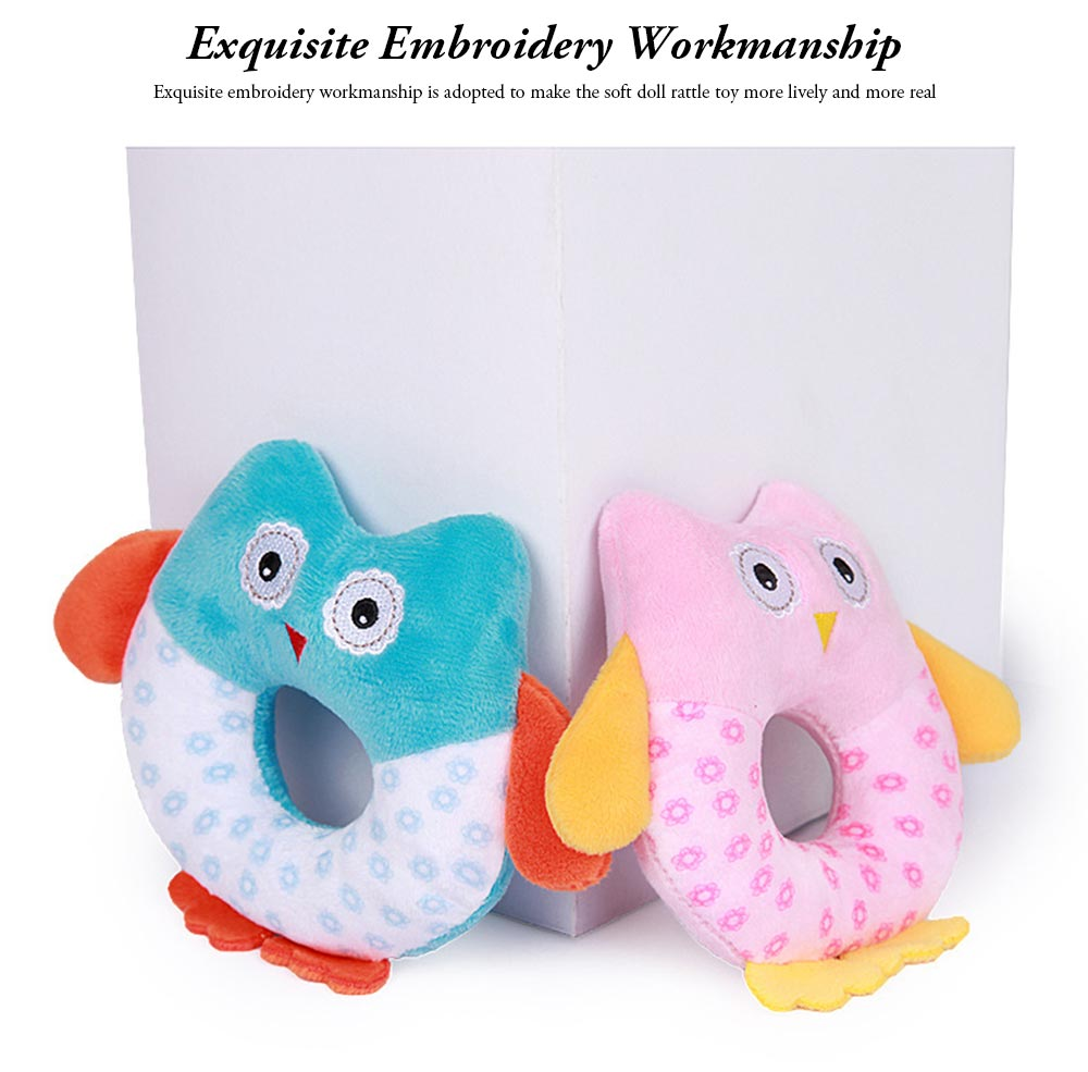 Cute Owl Baby Rattle Toy for Early Education, Audio-visual Touch Thinking Training Rattle Toy Baby Shaker Bell Toys 6