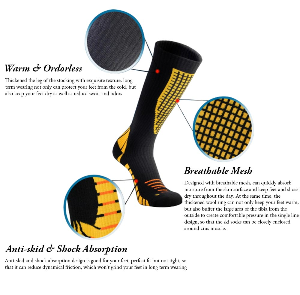 Breathable Ski Socks for Men, Cotton Terry Winter Socks with Towel Bottom Digital Printing Ultra-warm Sports Socks 3