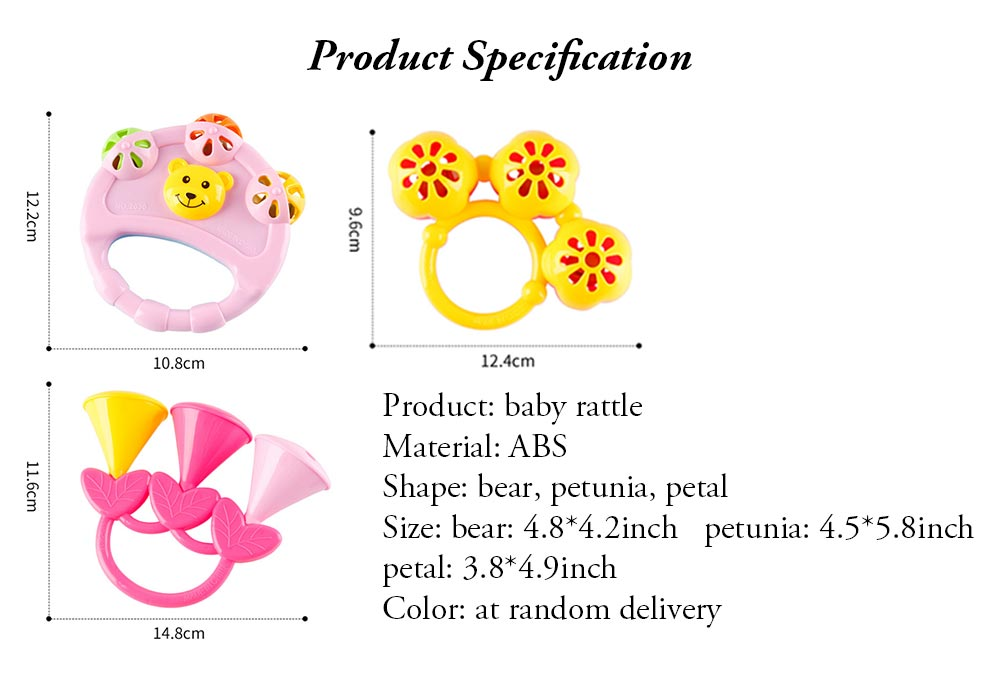 Early Education Rattle Toy for 3-12 Months Babies, Eco-friendly ABS Intelligence Shaker Bell Toys 7