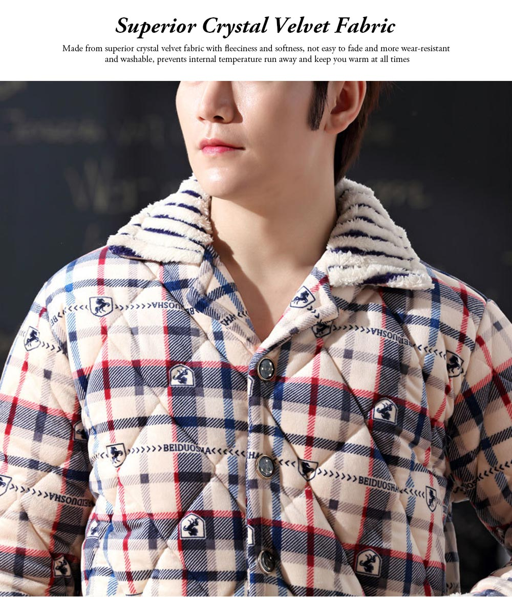 Crystal Velvet Nightshirt for Men, Ultra Warm V-neck Nightshirt with 5 Buttons for Early Spring, Autumn, Winter -5℃~10℃ 6