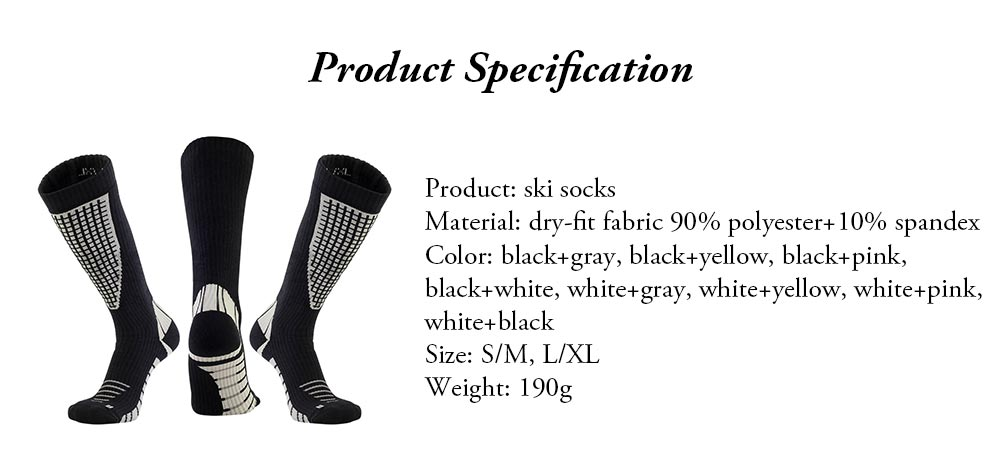 Breathable Ski Socks for Men, Cotton Terry Winter Socks with Towel Bottom Digital Printing Ultra-warm Sports Socks 7
