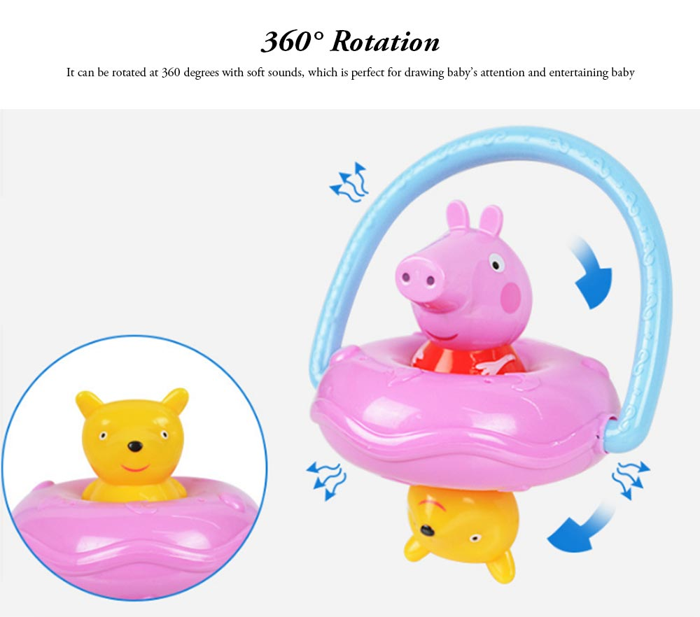 Peppa Pig UFO Shape Shaker Toy for Babies, Early Education Eco-friendly ABS Toy Rattle with Soft Sound 360° Rotation Rattle 3