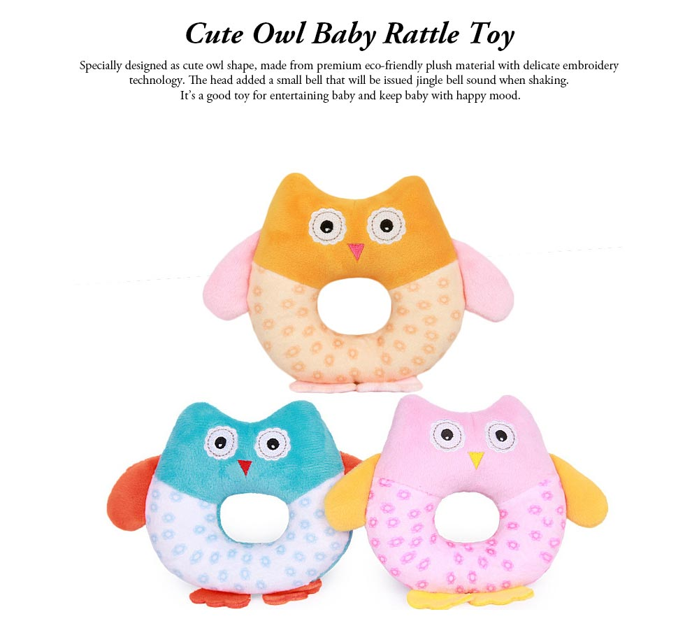 Cute Owl Baby Rattle Toy for Early Education, Audio-visual Touch Thinking Training Rattle Toy Baby Shaker Bell Toys 0