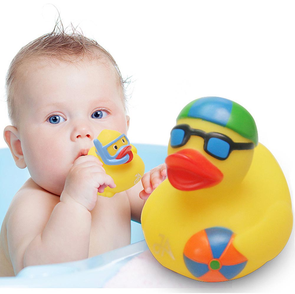 Yellow Duck Toy for Baby Bath, Early Education Swimming Duck Toy for Measuring Water Temperature 3