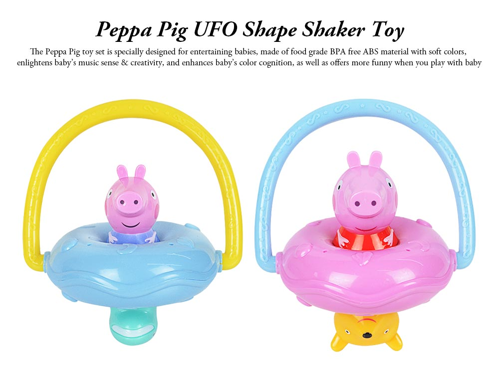 Peppa Pig UFO Shape Shaker Toy for Babies, Early Education Eco-friendly ABS Toy Rattle with Soft Sound 360° Rotation Rattle 0