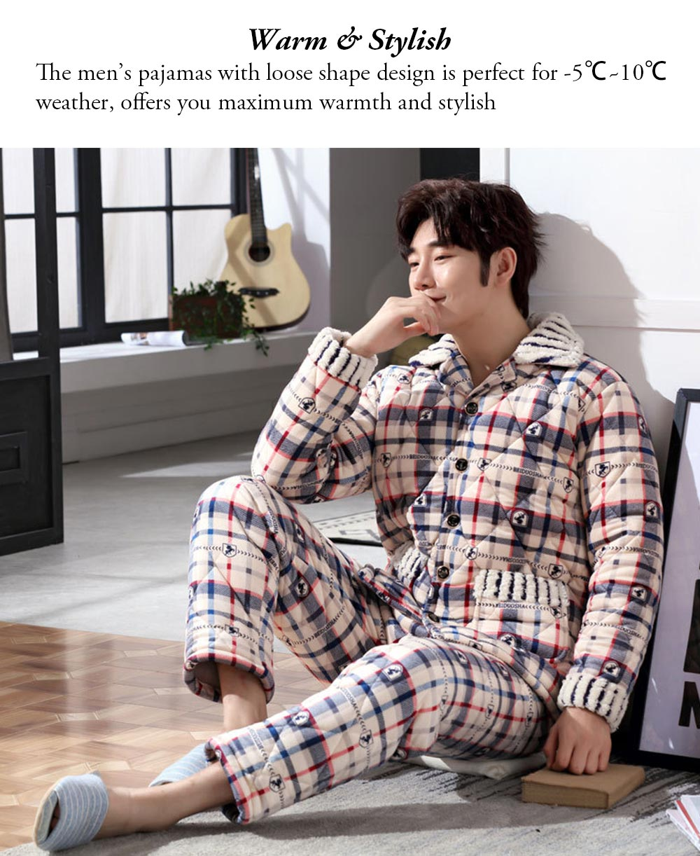 Crystal Velvet Nightshirt for Men, Ultra Warm V-neck Nightshirt with 5 Buttons for Early Spring, Autumn, Winter -5℃~10℃ 7