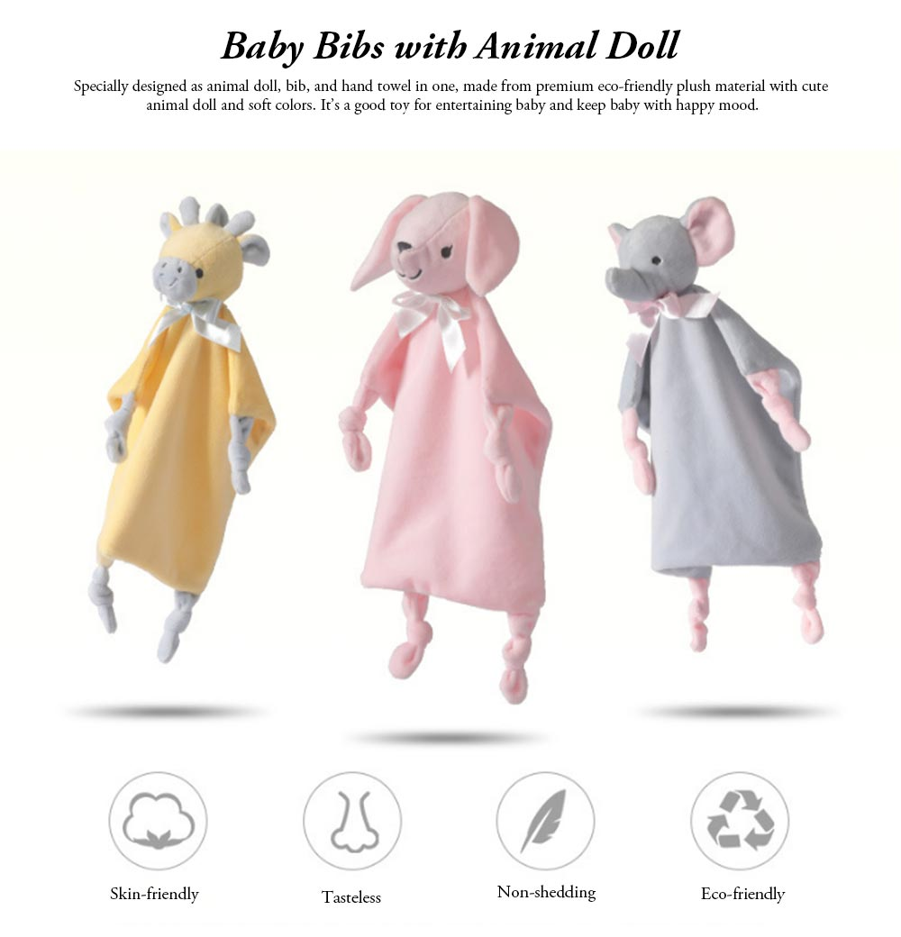 Baby Bibs with Animal Doll Elephant Rabbit Bear Deerlet Crystal Velvet Dolls Bibs for 0-3 Years Old Babies Home Outdoors Essential Baby Hand Towels 0