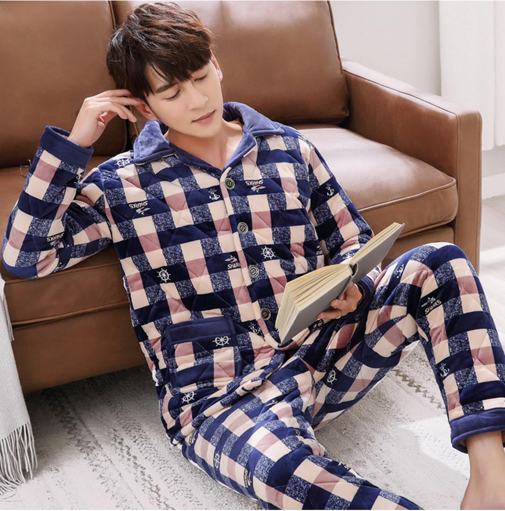 Flannel Sandwiched with Cotton Men's Pajamas, Coral Fleece Lining Nightshirt for Men, Ultra Warm Men's Pajamas Home Essential 7