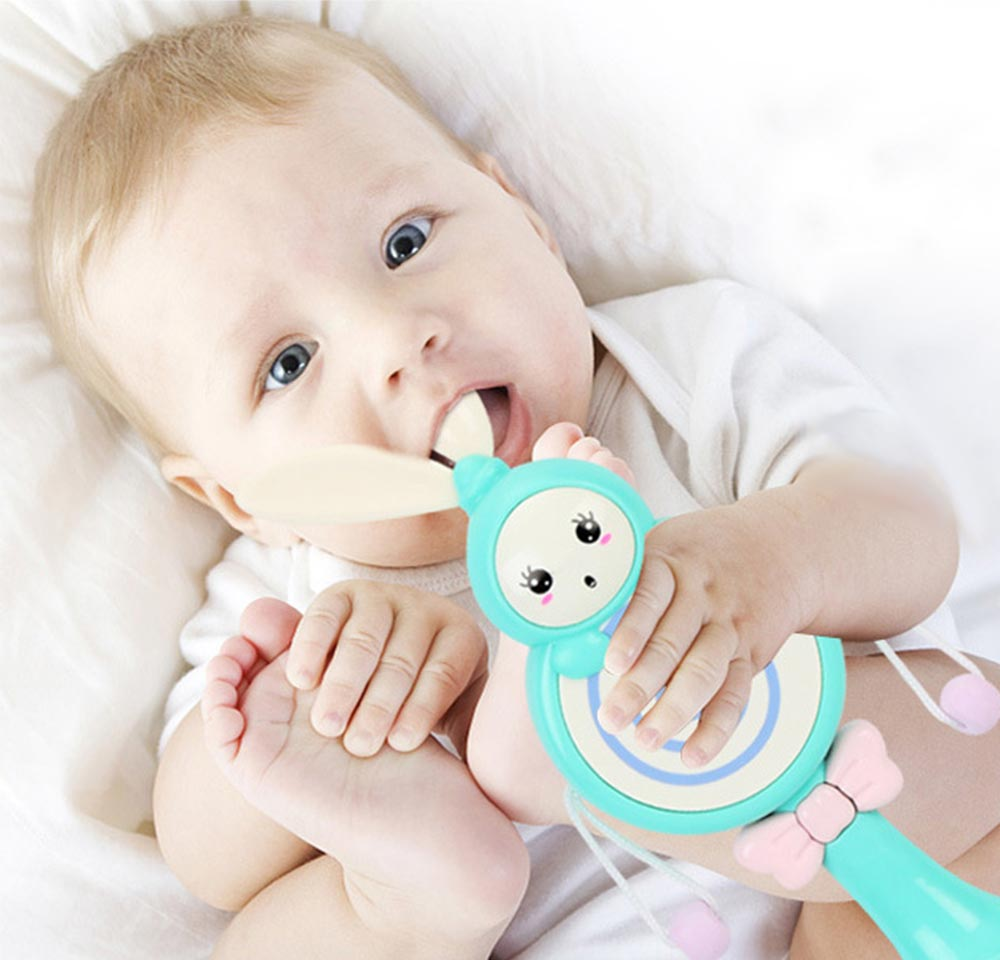 4- in-1 Baby Rattle Toy with Lights Music, Food Grade BPA Free Teether for Baby Cute Cartoon Shape Rattle Teether Toys 8