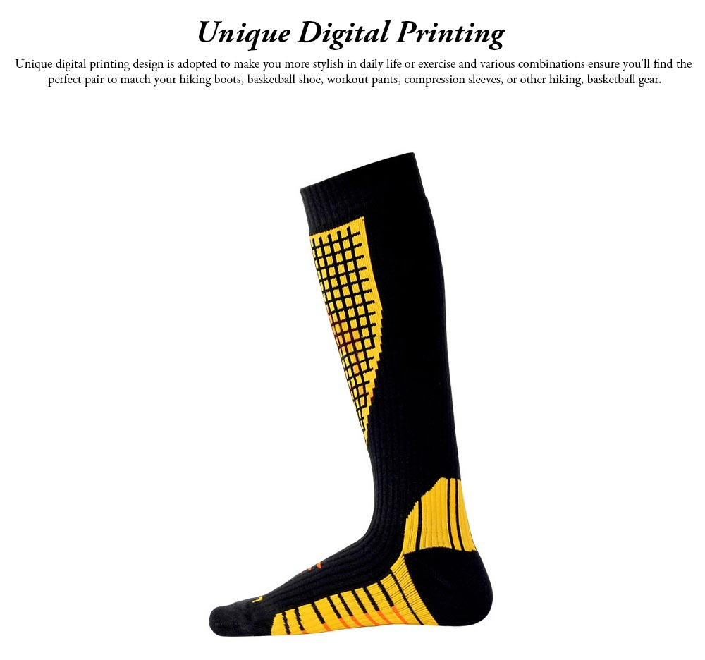 Breathable Ski Socks for Men, Cotton Terry Winter Socks with Towel Bottom Digital Printing Ultra-warm Sports Socks 1