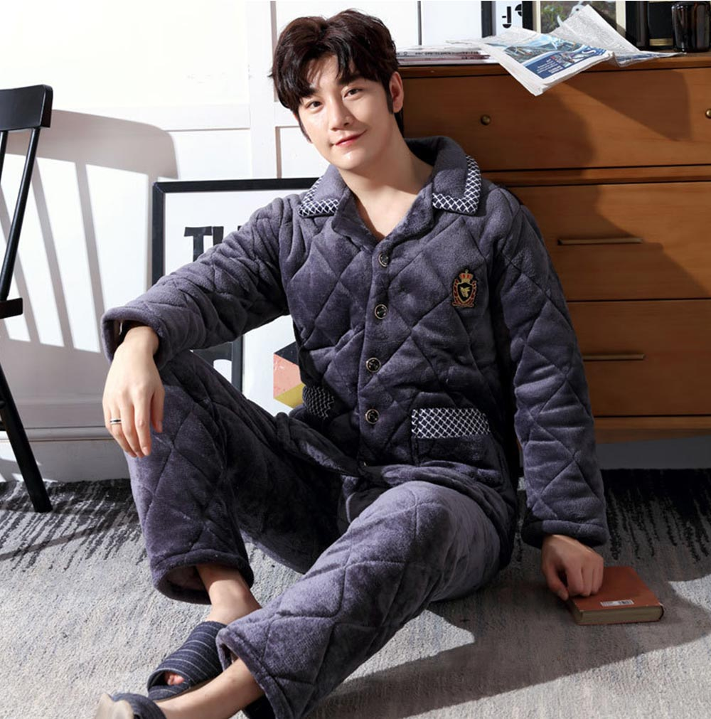 Crystal Velvet Nightshirt for Men, Ultra Warm V-neck Nightshirt with 5 Buttons for Early Spring, Autumn, Winter -5℃~10℃ 1