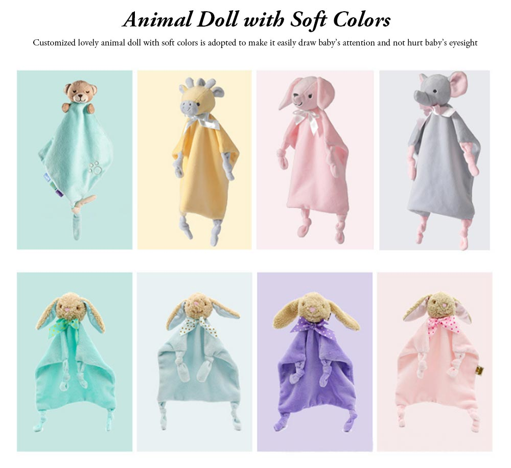Baby Bibs with Animal Doll Elephant Rabbit Bear Deerlet Crystal Velvet Dolls Bibs for 0-3 Years Old Babies Home Outdoors Essential Baby Hand Towels 5