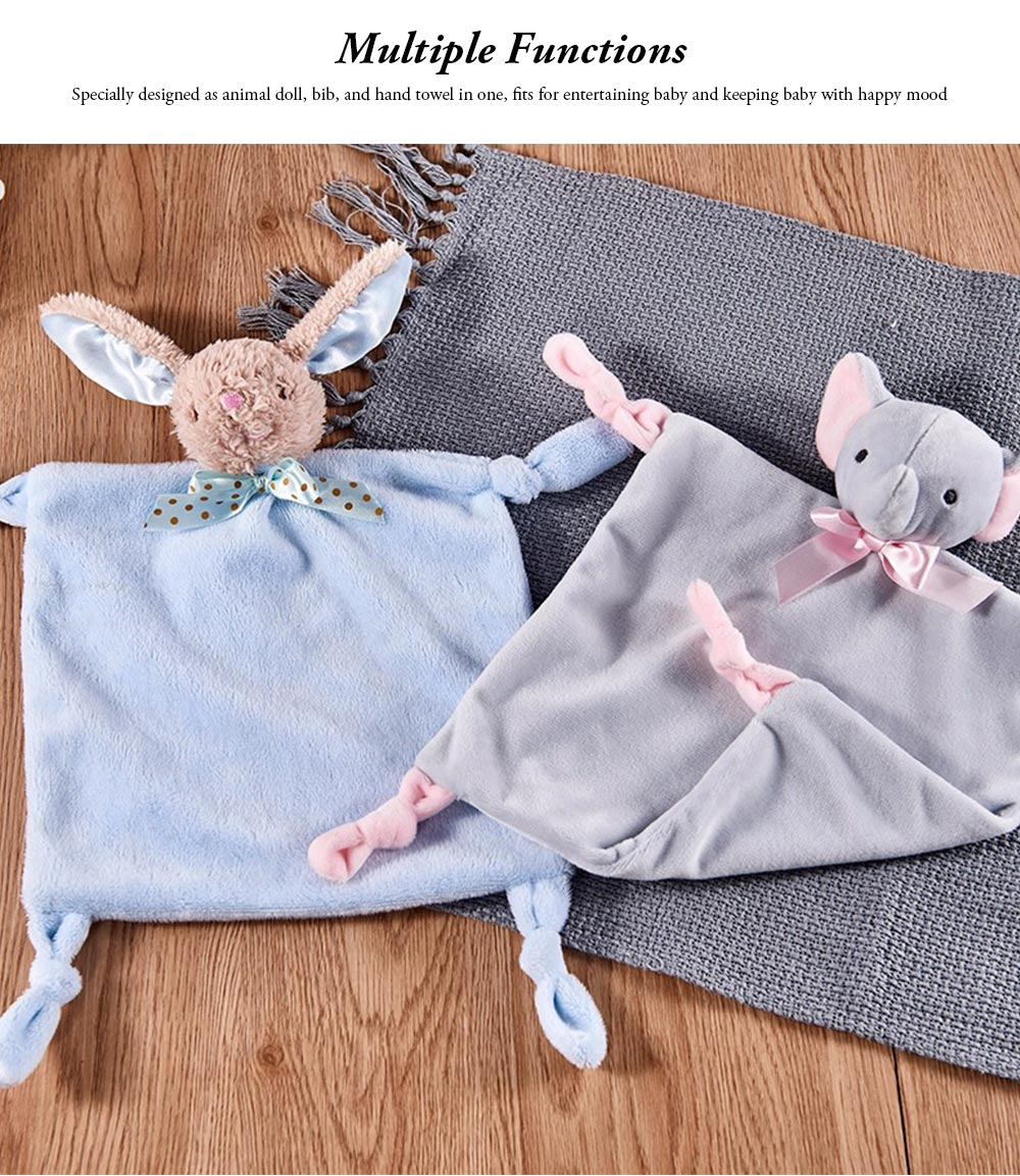 Baby Bibs with Animal Doll Elephant Rabbit Bear Deerlet Crystal Velvet Dolls Bibs for 0-3 Years Old Babies Home Outdoors Essential Baby Hand Towels 2