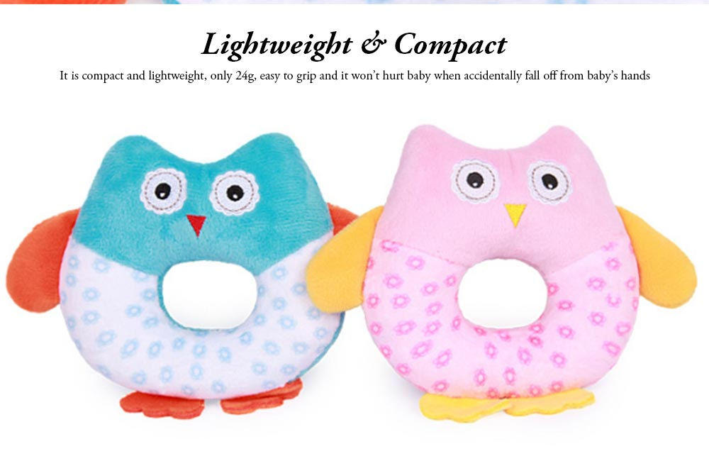 Cute Owl Baby Rattle Toy for Early Education, Audio-visual Touch Thinking Training Rattle Toy Baby Shaker Bell Toys 4